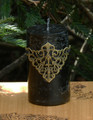 Isabella . Medieval Alchemy Pillar Candle . Dark Sandalwood, Vetiver, Bergamot, Lime, Black Lily, Camillia Flower