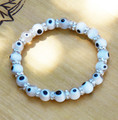 White Evil Eye Glass Beaded Bracelet . Luck, Peace, Balance, Protection