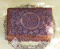 Pentacle Floral Carved Box 4x6 . Indian Rosewood