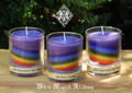 * Rainbows of Chakras Votive Candle in Glass Votive Cup . Multi-Color