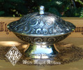 Floral Offering Ritual Scrying Bowl . Silver Plated