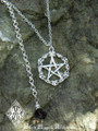 Old World Pentacle Pendant Necklace Solid Sterling Silver . Black Crystal Drop