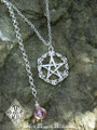 Old World Pentacle Pendant Necklace Solid Sterling Silver . Pink Champagne Crystal Drop