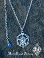 Pentacle Tree of Life Pendant Hand Cast in Solid Sterling Silver Blue Crystal Drop
