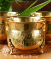 "Vintage Brass Cauldron 4"" with Elder Flower Designs on Legs"