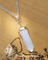 Selenite Point Pendulum Necklace . Intuition, Focus, Fertility