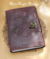 Pentacle Flower Weaved Leather Blank Journal with Lock 5x7