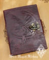Moon Faerie Leather Blank Journal Grimoire with Lock 6x8