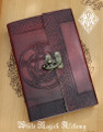 Pentacle Moon Leather Blank Journal Grimoire with Lock 5.5x8.25