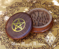 Wooden Herb Grinder Brass Pentacle 3""