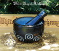 Black Stone Spiral Mortar and Pestle Set