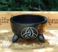 Triquetra Black Stone Cauldron Smudge Pot