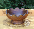 Scalloped Wooden Offering Bowl