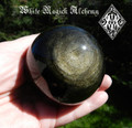 """Black Obsidian Gold Sheen 3"""" Gemstone Sphere . For Stress, Anxiety, Deflecting Negative Energies"""