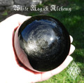 "Black Obsidian Silver Sheen Gemstone Sphere 3.25""  . For Stress, Anxiety, Deflecting Negative Energies"