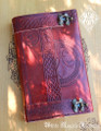 "Celtic Fleur de Lis Leather Journal Grimoire with Latch 5.5"" x 9"""