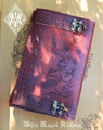 "Flying Dragons Leather Journal Grimoire with Latch 5.5"" x 9"""
