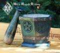 Pentacle Pentagram Wooden Mortar & Pestle Set in Wooden Sage