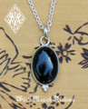 Onyx Gemstone Drop Pendant Necklace Sterling Silver . 1.5 Inch Drop with Chain