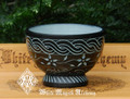 Black Stone Celtic Garden Ritual Offering Bowl, Cauldron, Smudge Bowl Large