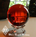 Ruby Red Crystal Ball Sphere 3.25""