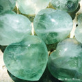 Green Fluorite Gemstone Hearts XLarge Puffy
