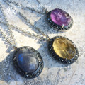 Princess Pendants in Labradorite, Citrine & Amethyst Gemstone Pendants in Silver with Marcasite