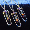 Quartz Chakra Pendant Necklace in Silver