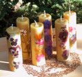 Old World Floral Pure Beeswax Pillars ~ Beautifully Handmade