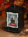 *Haunted Pumpkin 2x3 Square Candle in Black. Samhain, Halloween, Seance, Otherworldly Spirit Workings, Haunts