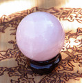 Rose Quartz Crystal Gemstone Sphere for Compassion, Calming, Healing, Peace, Positive Energy, Spiritual and Emotional Balance