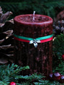 *Yule Log Holiday Candle 2x3 Pillar . Winter Solstice . Smokey Winter Woods of Pine, Cedar, Oak, Cinnamon