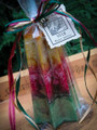 Yule Holiday Candle Tree with Brass Bell ~ Winter Solstice ~ Gold, Red and Green . Cedar, Pine, Cinnamon, Clove, Nutmeg, Ginger