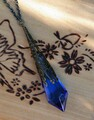 Kobold ~ Swarovski Crystal Magickal Prism Divination Pendulum Necklace ~ Bronze Filigree Pendant 30 inch