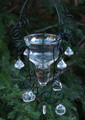Faerie Garden Hanging Candle Holder Lantern . For Tealights and Votive Candles . Glass Cup and Beads