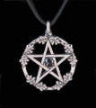 Oak Leaf Pentacle . Onyx Black Czech Glass . Pentacle Pewter Pendant