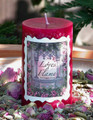 Loves Flame . Strawberries and Sugared Cream 2x3 Pillar Candle . Beltane, Pagan Love Rites, Lust, Attraction, Passion, Seduction