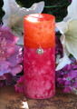 Summer Sunset Pillar 2.5x6 . Summer Solstice, Evening Illumination, Love . Grapefruit, Lemon Verbena, Lime, Lily, Creamy Vanilla Sugar