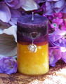Purple Sun Pillar 2x3 . Spring, Summer Solstice, Evening Illumination, Love. Exotic Wild Jasmine, Orange Honey, Spring Flora, Vanilla Bean
