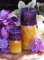 Purple Sun Sunset Pillar Candle .  Spring, Summer Solstice, Evening Illumination, Love. Exotic Wild Jasmine, Orange Honey, Spring Flora, Vanilla Bean