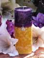 Purple Sun Pillar 2.5x6 . Spring, Summer Solstice, Evening Illumination, Love. Exotic Wild Jasmine, Orange Honey, Spring Flora, Vanilla Bean