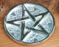 Pentacle Altar Tile . Silver Plate