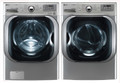 LG WM8000HVA 5.2 cu. ft. Mega Capacity TurboWash Washer / DLGX8001V 9.0 Cu. Ft. Gas Steam Dryer Set -Graphite Steel