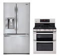 LG LFX31945ST, LDG3036ST Refrigerator and Gas Double Oven Range Set