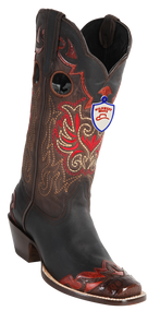 Wild West Womens Caiman Square Toe Western Boots Brown 2318207