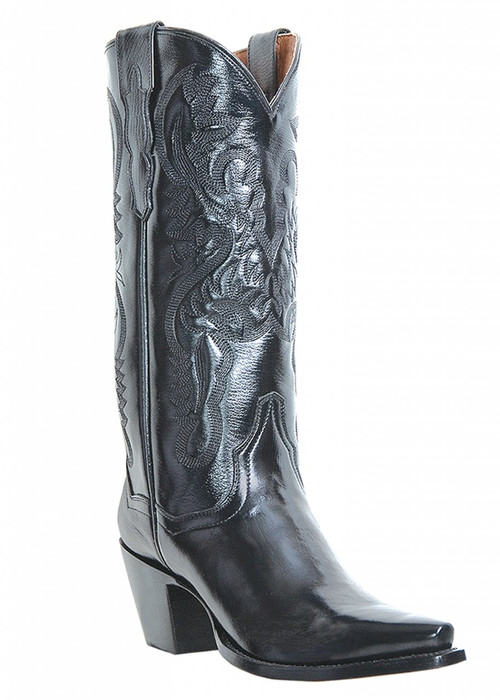 DP3200 Maria Dan Post Snip Toe Womens Boots Black Leather all over and High Fashion Heels
