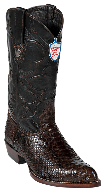 Wild West Burgundy Python Boots J-Toe 2995706