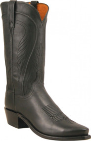 Lucchese Heritage Mens Black Burnished Ranch Hand Cowboy Boots N1597 Showing the 5-Snip Toe