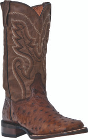 "DP2984 Ostrich Cowboy Certified by Dan Post Boots "" Chandler "" Saddle Brown"