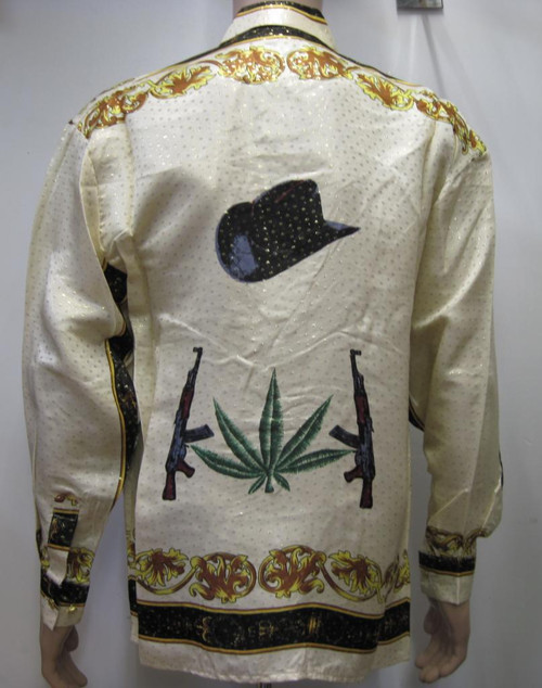 Hats Cannabis Leaf & machine gun silk shirt